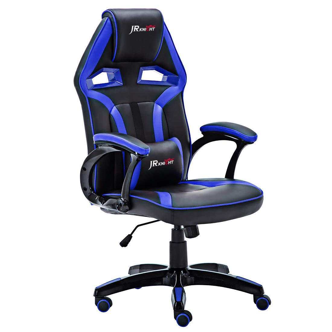 JR Knight - Silla estilo deportivo, oficina en casa, gaming, silla giratoria exclusiva de piel, color Black&Blue: Amazon.es: Hogar