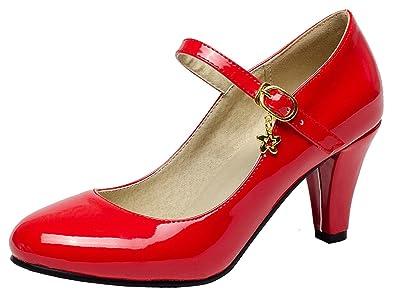 YE Damen Mary Jane Pumps Blockabsatz Lack High Heels mit Schnalle 7cm Absatz Bequem Schuhe