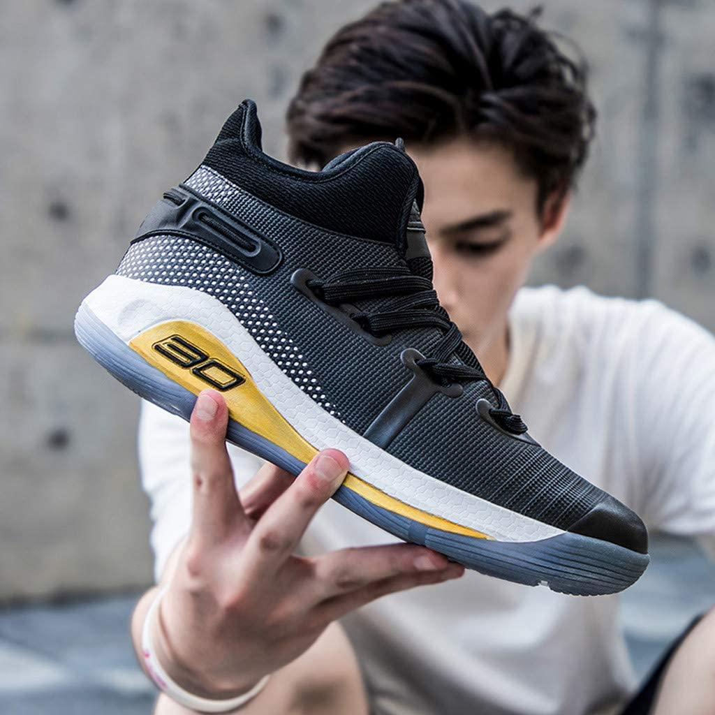 High Top Sneakers for Men Casual Mesh Training Running Stylish Lace-up Shoes