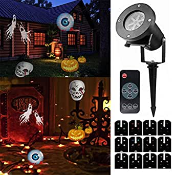 Halloween Projector Light with Remote Control,12 Exclusive Design Slides IP65 Waterproof Landscape Motion Projector Lights,for Halloween Christmas Birthday Wedding Party Outdoor Indoor Home Decor