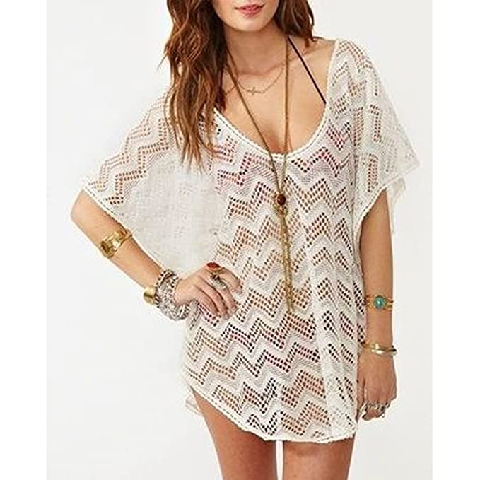 d7381cf005 MyGift MG Collection White Drawstring Waist Openwork Fashion Beach Swimsuit  Cover-Up