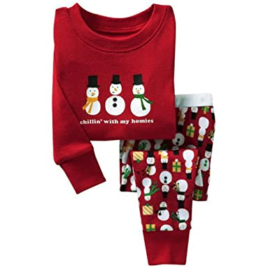 Child Christmas Outfits Kids Xmas Pajamas Snowman Bodysuits Age 2-6 Outwear by Fenta