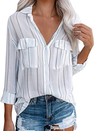Amlaiworld Camisas Rayas Mujer, Camisa Casual de Mujer con Cuello en V Botón de Manga Larga Bolsillo con Blusa Tops Camisetas Mujer Manga Larga Blanca: Amazon.es: Ropa y accesorios