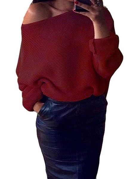 Pullover Punto Mujer Elegantes Otoño Invierno Manga Larga Off Shoulder Color Sólido Suéter Áspero Casual Basic Moda Vintage Camisas Tops Ropa: Amazon.es: ...