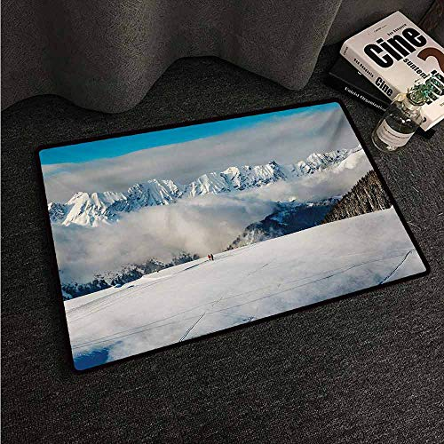 HCCJLCKS Outdoor Door mat Winter Panoramic View on Mountains and Two People Walking French Alps Hiking Travel Non-Slip Door mat pad Machine can be Washed W35 xL59 Blue White Brown