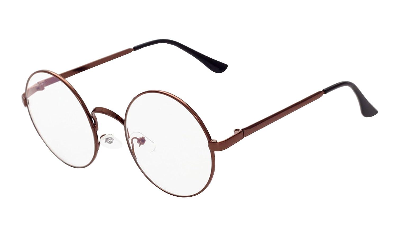 1a4b1a64b2c6 MaxAike 1 Retro Metal Frame Clear Lens Round Glasses Plain Mirror 53mm 53mm  (Bronzer