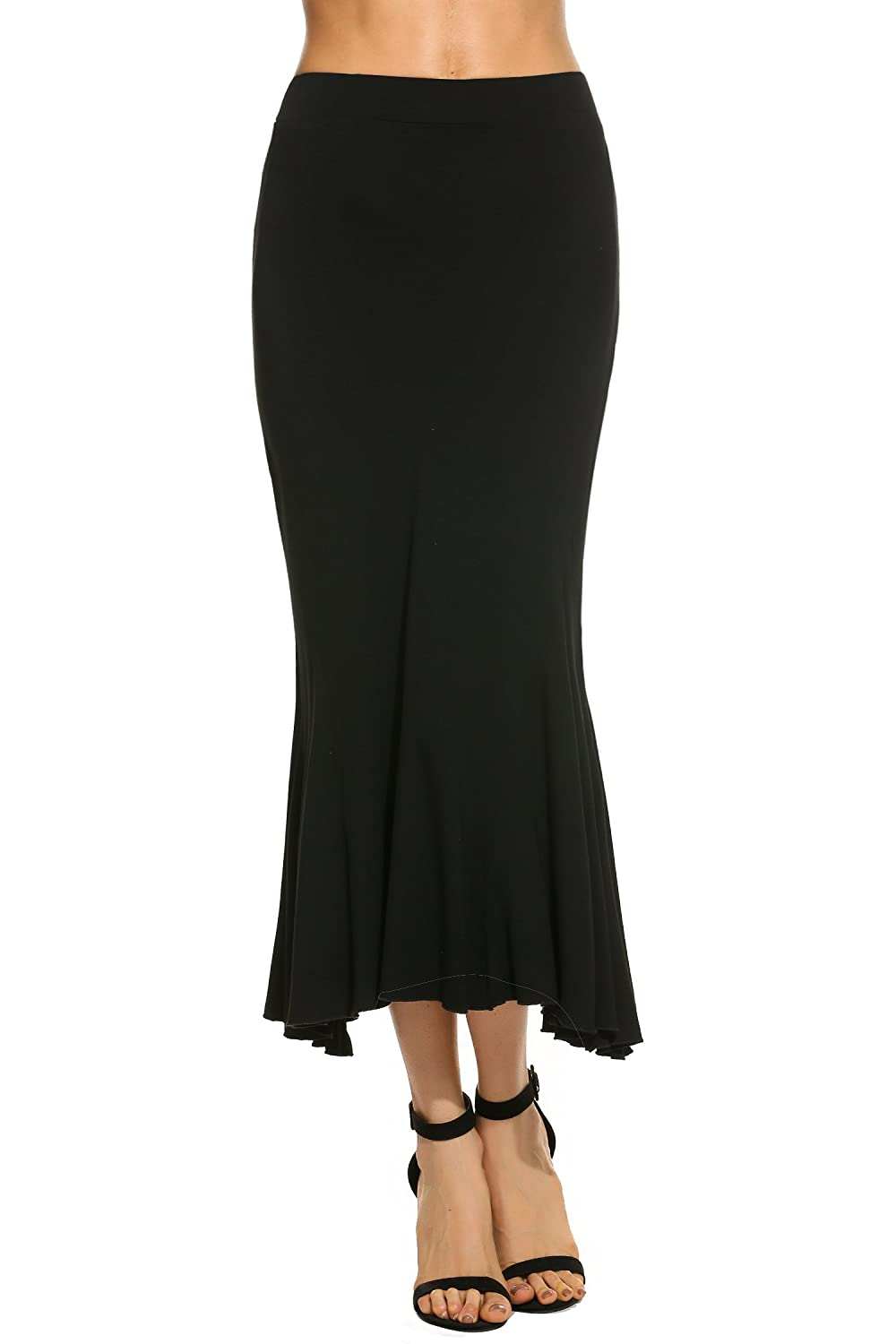 Retro Skirts: Vintage, Pencil, Circle, & Plus Sizes Womens Fishtail Mermaid Stylish Stretchy Slim Fit Long Sexy Skirt Zeagoo(Dark GrayBlack) $24.99 AT vintagedancer.com