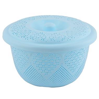uxcell Plastic Home Fruit Vegetable Washing Colander Strainer Basket Plate Light Blue