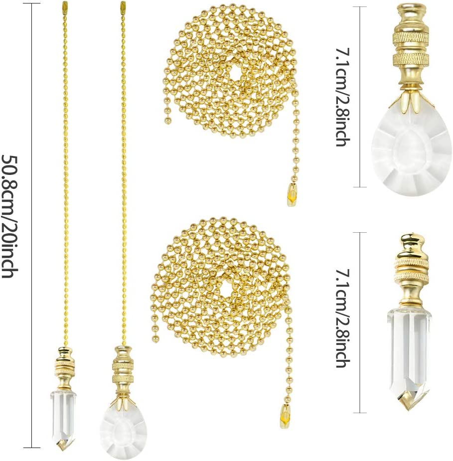 Ceiling Fan Pull Chain JIAERQI 2PCS 20-inch Beaded Ball Extension with Decorative Crystal Pendant /& Solid Copper Connector.