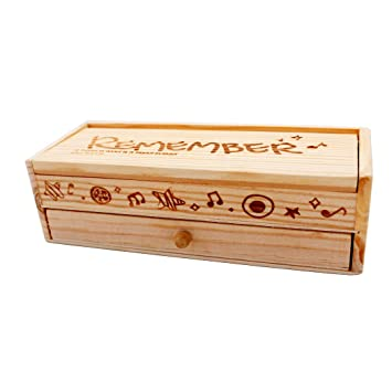 Abcsea Estuche de lápices de plumas grande elegante y retro, rectángulo de lápices, caja de maderaestuche de madera pura