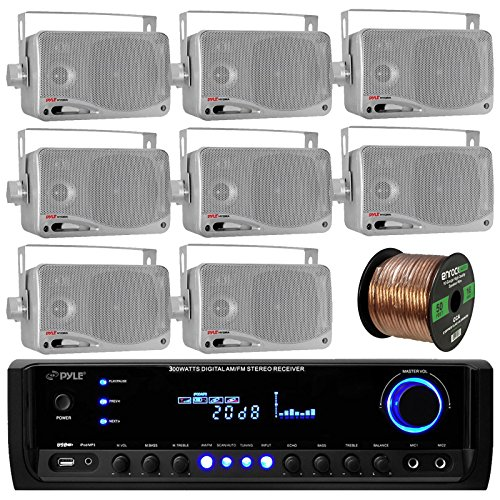 Pyle PT390BTU Bluetooth Digital Home Theater 300-Watt Stereo Receiver Bundle Combo With 8x 3'' Inch 3-Way Wall Mount Silver Home Speakers+ Enrock 50 Ft 16g Speaker (4 Channel Combo Unit)