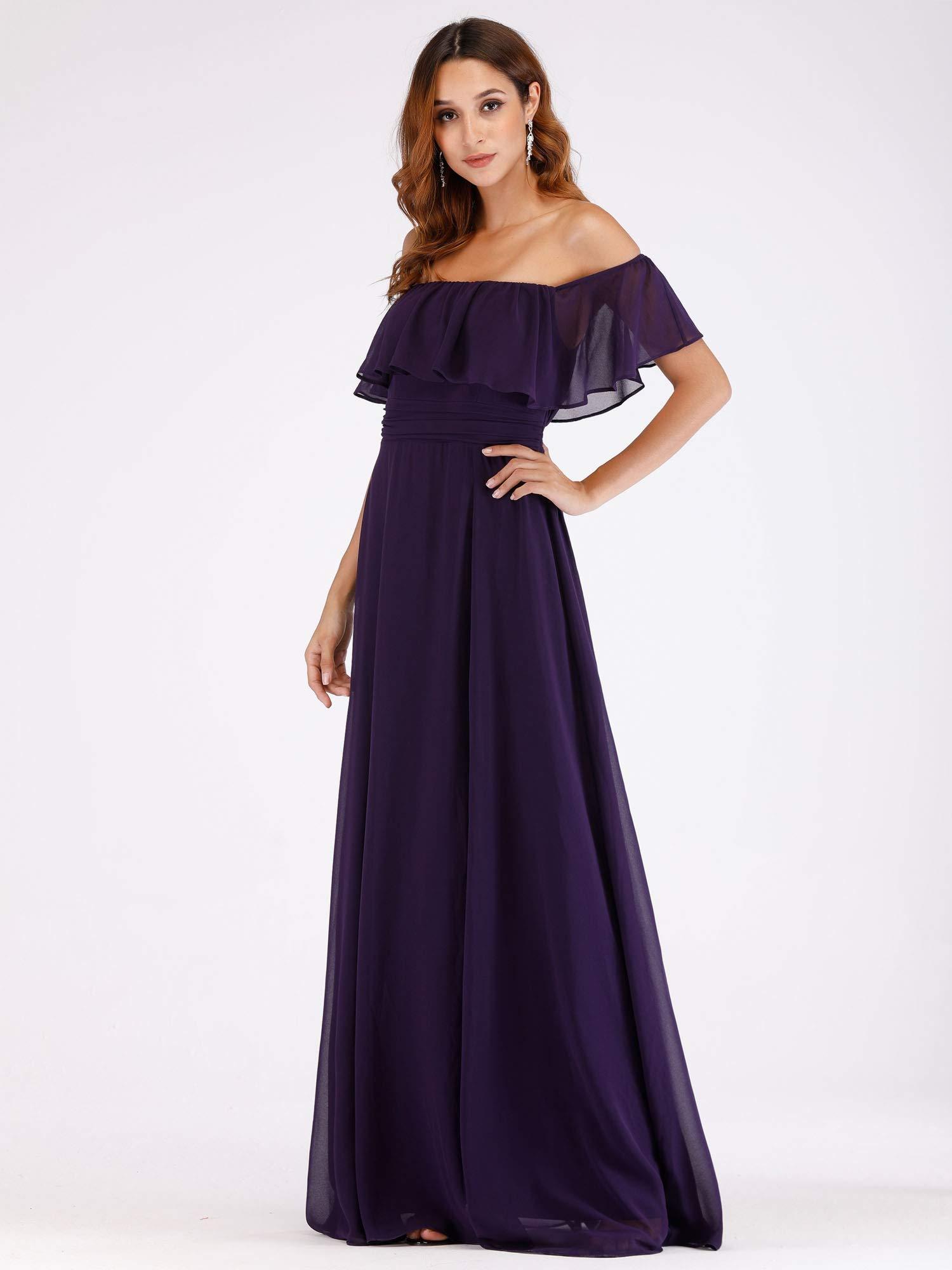 Women\'s Off Shoulder Bridesmaid Dresses Chiffon Maxi Dresses Plus Size  Purple US18
