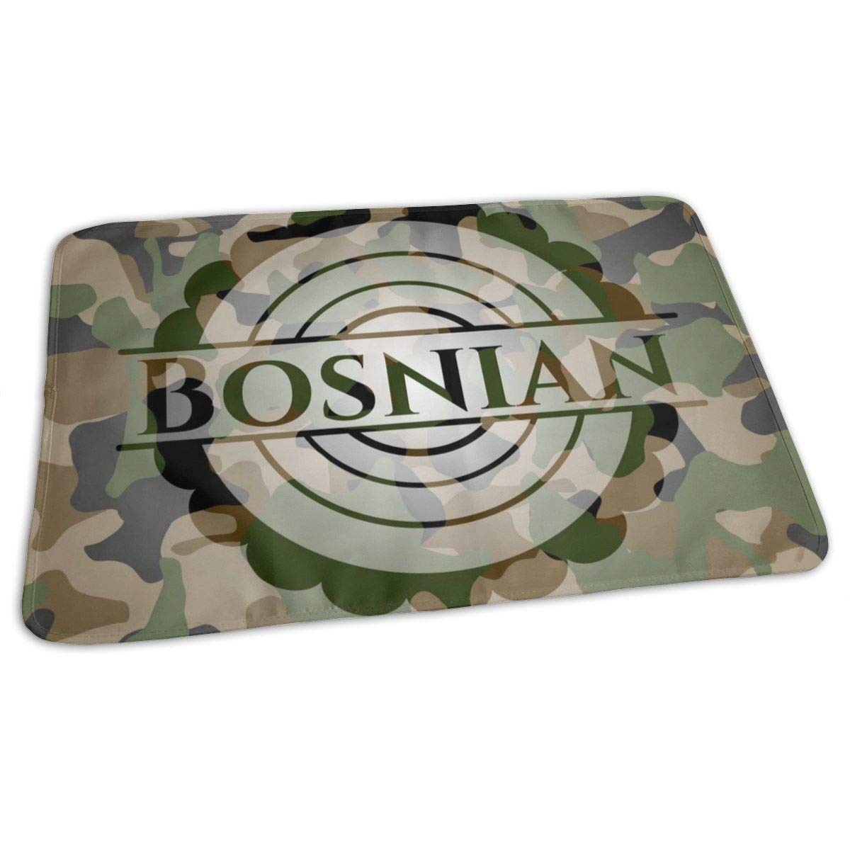 Osvbs Lovely Baby Reusable Waterproof Portable Bosnian Written On A Camouflage Texture Changing Pad Home Travel 27.5''x19.7'' by Osvbs