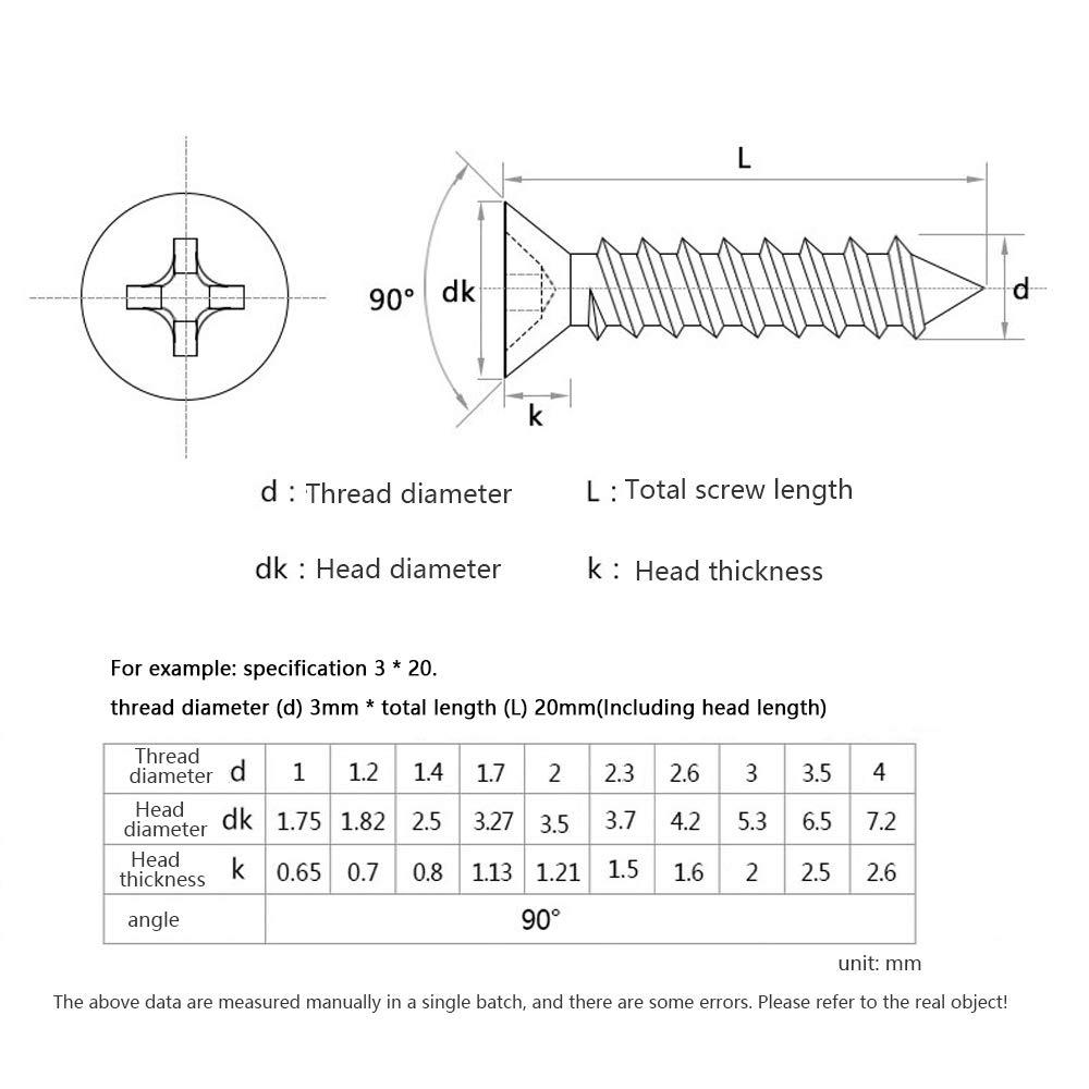 SENDILI M3 M3.5 M4 Tornillos de Madera Avellanada Tornillos Autorroscantes con Cajas de Almacenamiento Estilo F 345 pcs