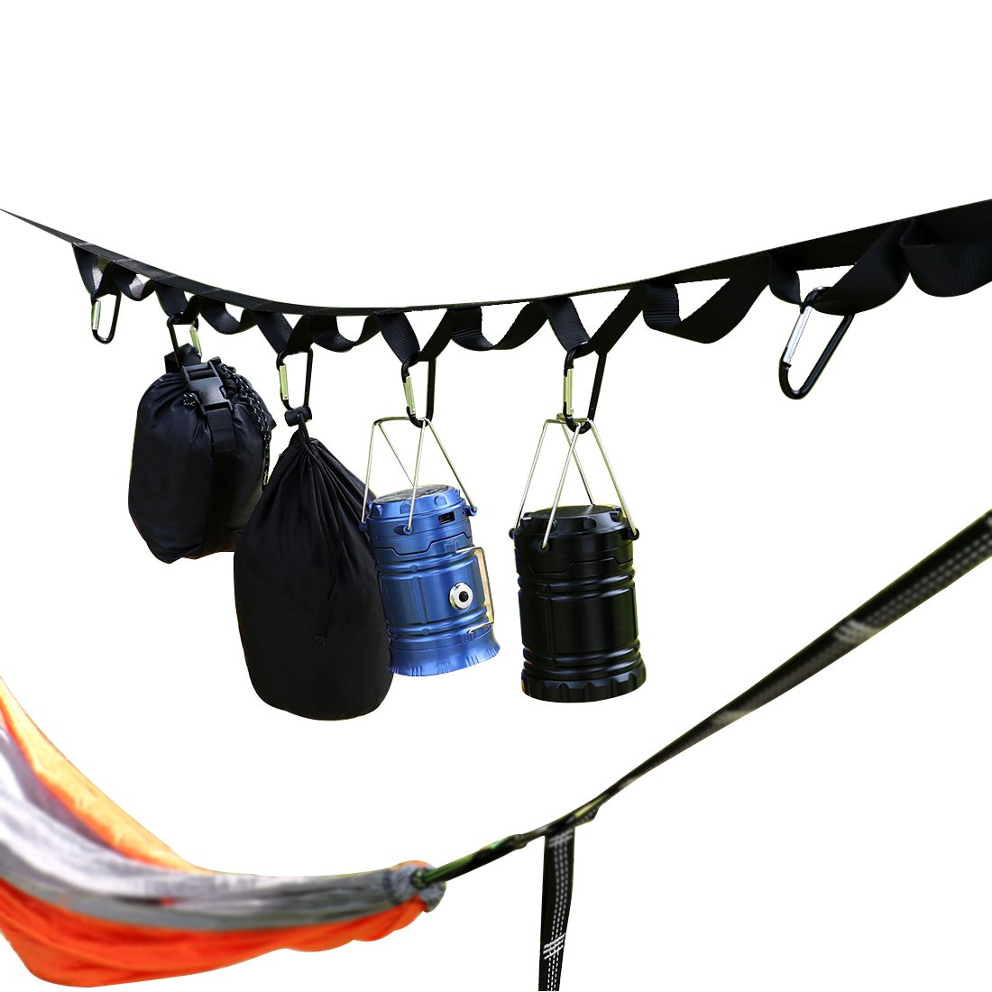 LAMURO Outdoor Camping Lanyard with Hook | Campsite or Garden Supplies Storage Strap with Hooks | Hang Your Camping Gear from a Tree | Vertical or Horizontal Organizer
