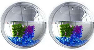 GREENWISH 2Pack 5.9'' Wall Mounted Clear Acrylic Round Fish Tank Flower Pot Vase Decoration Wall Hanging Mount Fish Bowl Fish Bubble Aquarium Decorative Plant Pot Hanging Hydroponic Pot