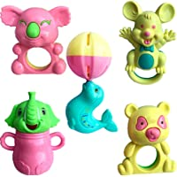 SAISAN Set Lovely Colourful Rattle Toys for Toddler Based on Theme of Sound Shaking for Baby/Infant/Child (5 Pcs)
