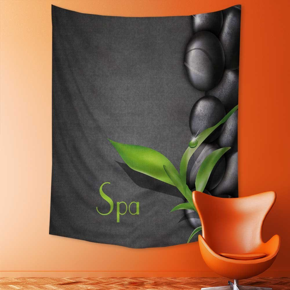SeptSonne Mandala Tapestry Wall Tapestry Bohemian Wall Hanging background of a spa with stones,and a sprig of green bamboo Wall Art Wall Decor Beach Tapestry 59L x 90.5W Inches
