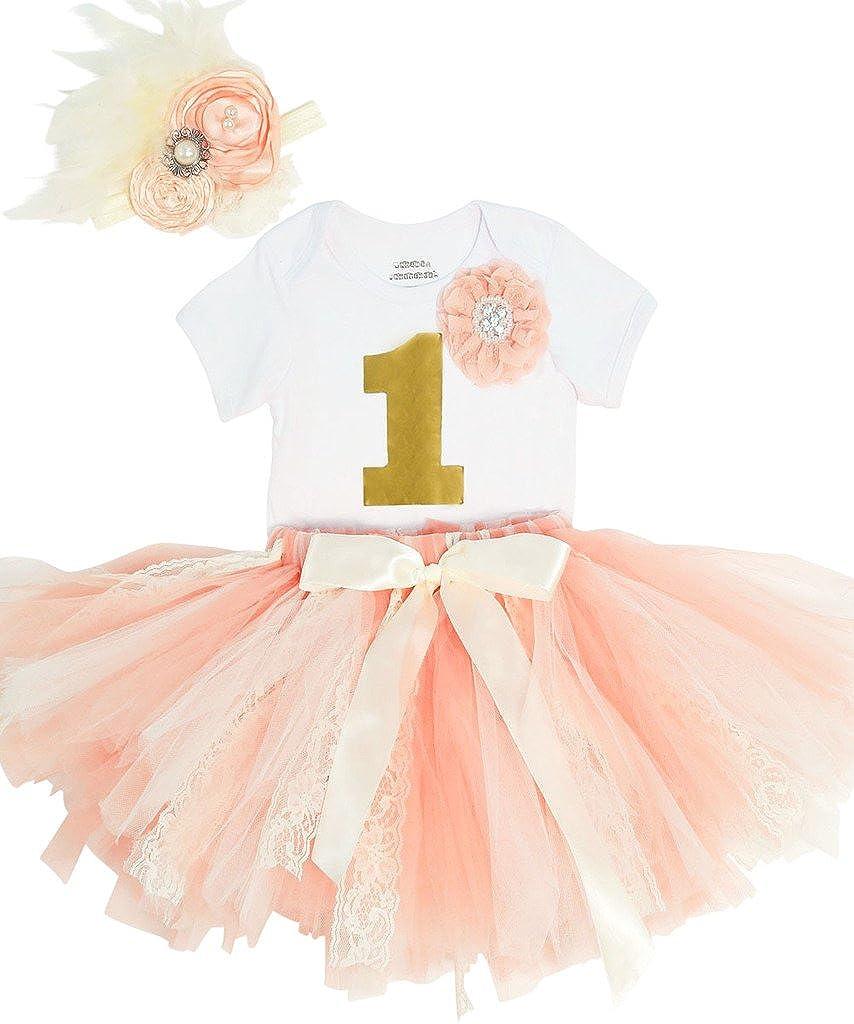 310aa2cf4 Amazon.com  Noah s Boytique Baby Girls First Birthday Peach Ivory ...