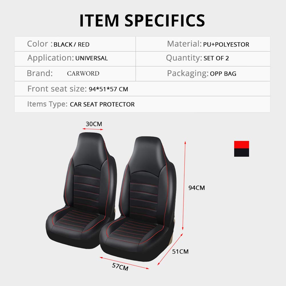 Black Eco Leather Front Tailored Seat Covers For Suzuki Grand Vitara up to 2015