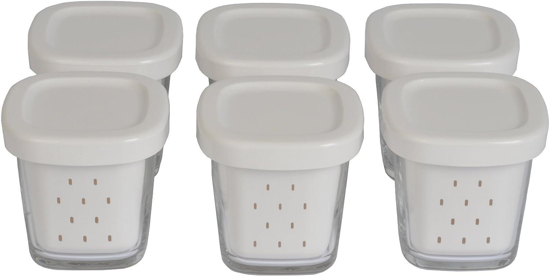 Seb Delices XF100001 Cassa di 6 vetro yogurt Vasi con Grigio coperchi e Sieve