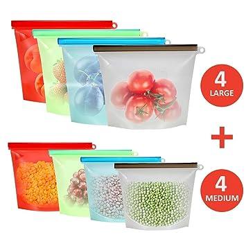 Valpha 8 Paquete Bolsas de Silicona Reutilizables, FDA ...