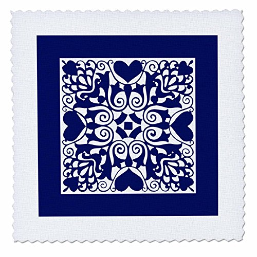3dRose Russ Billington Designs - Hearts and Flowers Tile Design in Blue and White - 22x22 inch quilt square (qs_262267_9) (Craft Russ Heart)