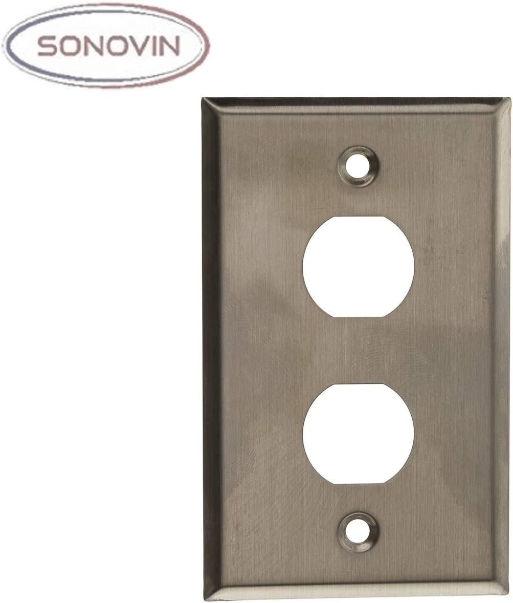 2 Port Sonovin Outdoor Wall Plate w//Water Seal Stainless Steel Single Gang Color:Silver