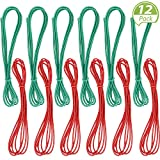 12 Pieces 79 Inches Chinese Jump Rope Red and Green Chinese Jump Rope Stretch Rope Elastic Fitness Jump Game for Popular Outdoor Exercise