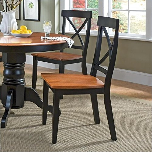 Cottage Oak Finish Seat - Home Styles 5168-802 Dining Chair, Black and Cottage Oak Finish, 18-Inch, Set of 2