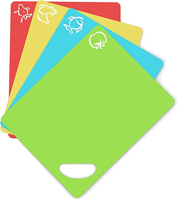 Cooler Kitchen Dishwasher Safe Extra Thick Flexible Plastic Cutting Board Mats with Holes for Hanging and Food Icons & EZ-Grip Waffle Back, (Set of 4)