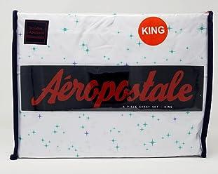 Aeropostale 6pc King Sheet Set - Starburst with Turquoise Stars on White