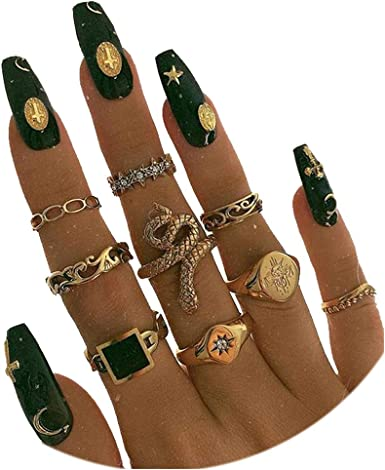 11Pieces Snake Knuckle Stacking Ring Set Boho Vintage Gold Stackable Midi Finger Rings for Women Teen Girls
