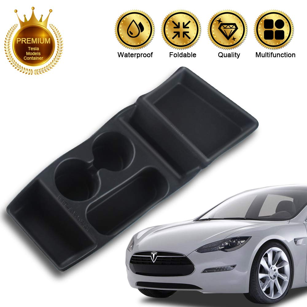 PROBASTO Tesla Model S Center Container/Cup HolderTesla Console Container Center Storage Box for Model S 2012 2013 2014 2015 JY Silicone, Black