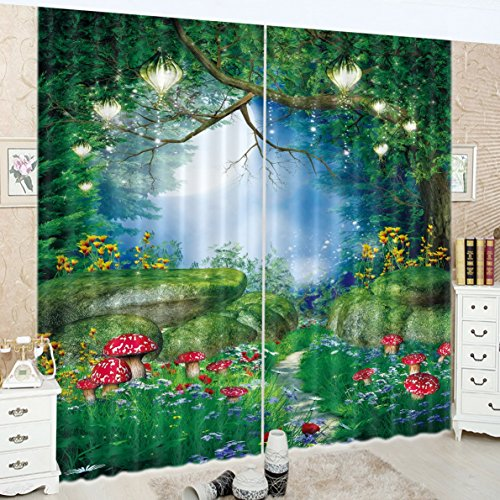 LB Teen Kids Decor Collection,2 Panels Room Darkening Blackout Curtains,Fairy Tale Forest Scenery 3D Effect Print Window Treatment Curtains Living Room Bedroom Window Drapes,80 x 96 Inches