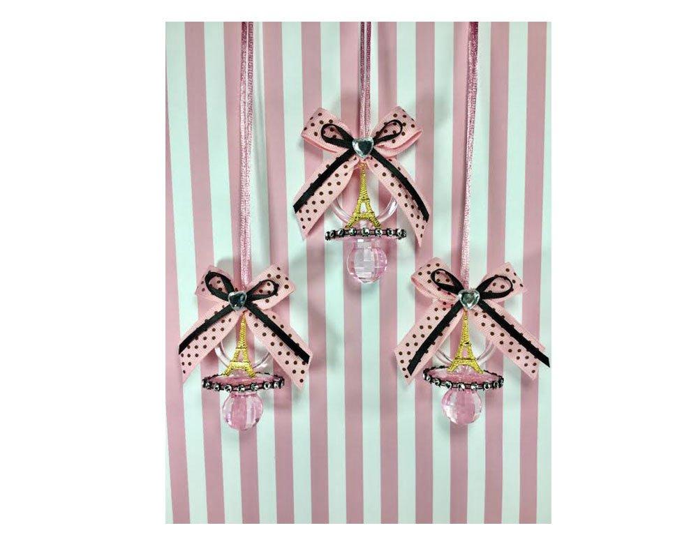 Amazon.com: 12 Beautiful Rosa y Negro Polka Dot bebé ducha ...