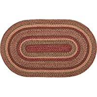 VHC Brands 45595 Burgundy Primitive Country Flooring Cider Mill Jute Rug, 36x60, Red