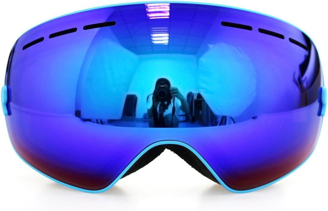 フレームブルーゴーグルスキースノーボードゴーグル曇り止めuv400冬スポーツスキーゴーグルセット