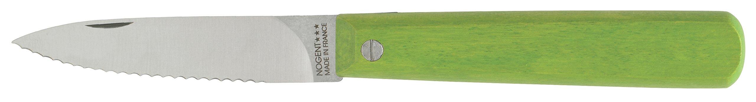 Nogent Le Pocket Folding Paring Kitchen Knife, Made in France, Serrated Edge, Hardwood Handle, Lime Green, 3.15-Inch Carbon Steel Blade