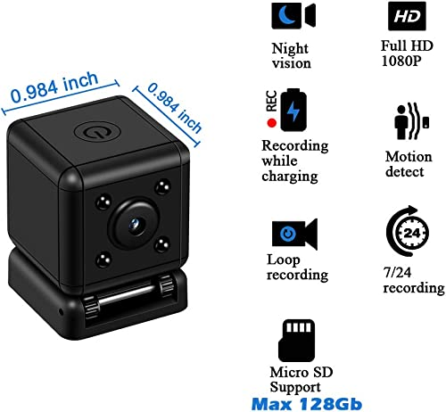 Spy Camera Nanny Cam 1080P Hidden Mini Camera Full HD Hidden Cameras Motion Detection Recording Night Vision Loop Recording Plug and Play One Touch Button