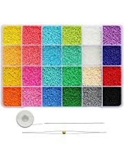 Bala&Fillic 12/0 Round Seed Beads Size Almost Uniform 2mm Glass Seed Beads About 21600pcs in Box Multicolor Seed Beads for Jewelry Making (About 900pcs/Color, 24 Colors)