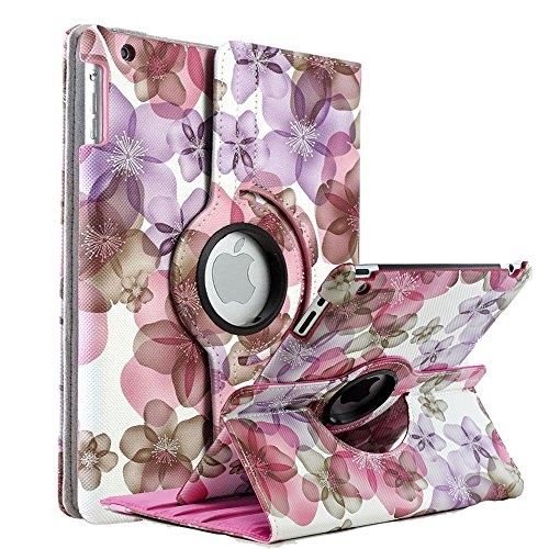 iPad Air 2 Case, iPad Air Case, iPad 9.7 Inch 2017 Case,New iPad 9.7 Inch 2018 Case, SorbSun PU Leather 360 Degree Rotating Floral Style Folio Smart Stand Protective Case Cover, Pink