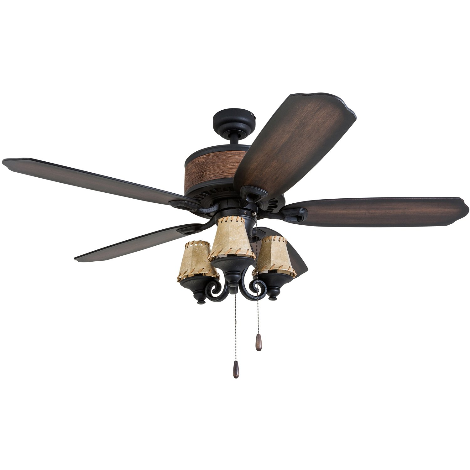 Prominence Home 41110-01 Almer Point 52'' Lodge Ceiling Fan with 3-Light, Faux Leather Lamp Shades, Cabin Inspired Dark Elm/Chestnut Blades, Rustic Style, Matte Black