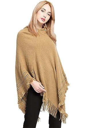 Landove Poncho à Capuche avec Franges Femme Chandail Cape Tricote au  Crochet Grand Taille Echarpe Veste de249c1ce54