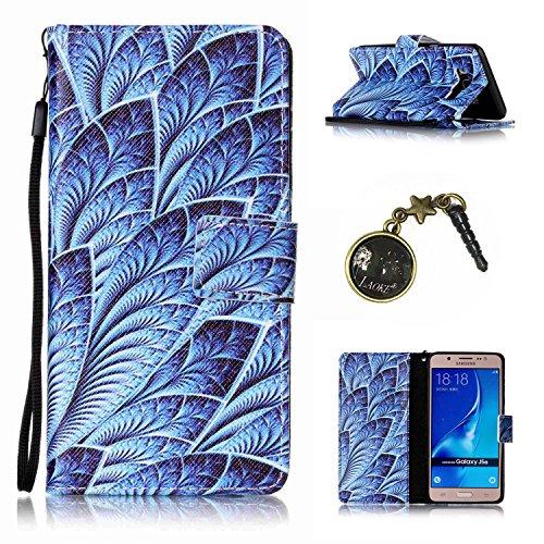 Para Smartphone Samsung Galaxy J5(2016) J510móvil, piel para Samsung Galaxy J5(2016) J510Flip Cover Funda Libro Con Tarjetero Función Atril magnético (+ Polvo Conector) marrón 5 4