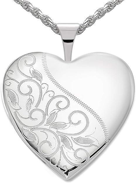 Heart Shape Engraved Swirl Locket 925 Sterling Silver Photo Kids Vintage Look