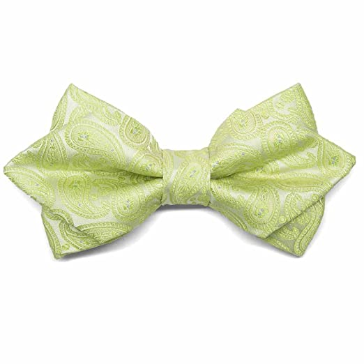 d176412930a2 Image Unavailable. Image not available for. Color: TieMart Apple Green  Darlene Paisley Diamond Tip Bow Tie