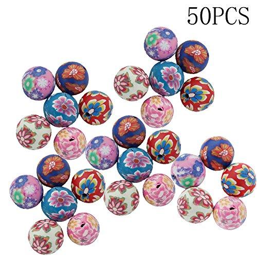 ZEROYOYO 50pcs Multicolor Soft Ceramics Charms Beads Bracelet for Jewelry Making 10MM