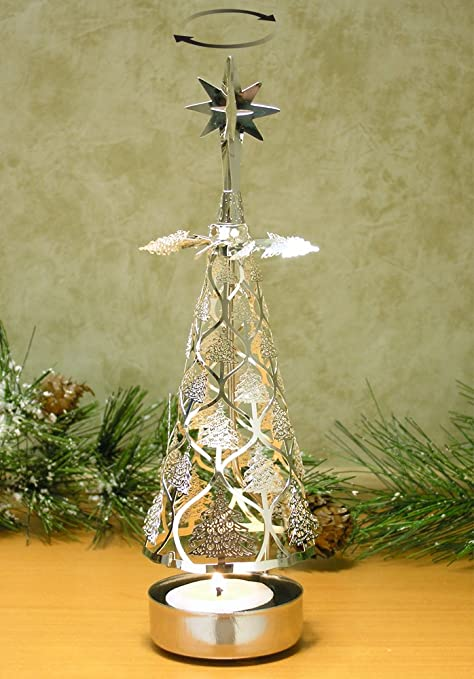 spinning christmas tree candle holder scandinavian style amazon co