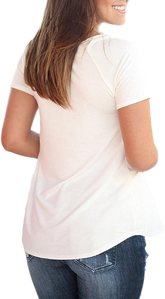 Auxo Jersey Cuello Redondo Blusa Blanca Mujer Manga Corta Flores Costura Verano Blanco ES 42/Asian XL: Amazon.es: Ropa y accesorios